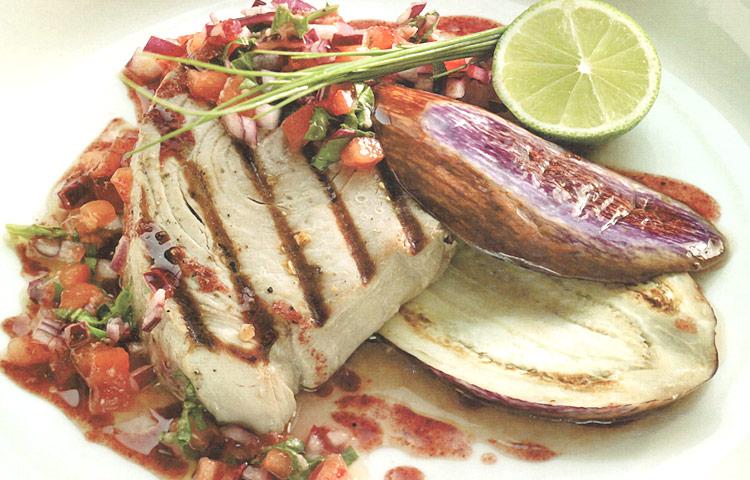 Receta de Cocina paso a paso: Lomo de Atún con Berenjenas