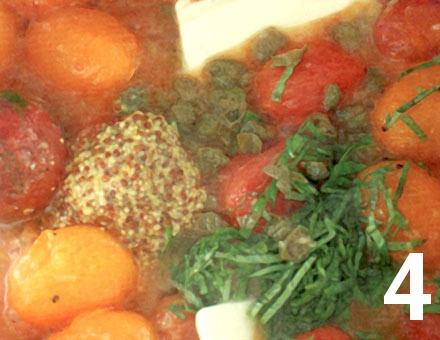 Preparacion de Medallones de congrio sobre Ragú de Tomates - Paso 4