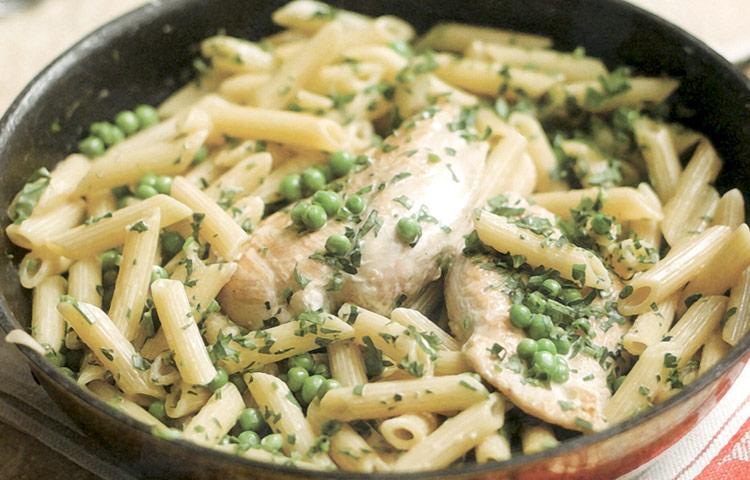 Receta de Cocina paso a paso: Pollo con Macarrones a la Crema