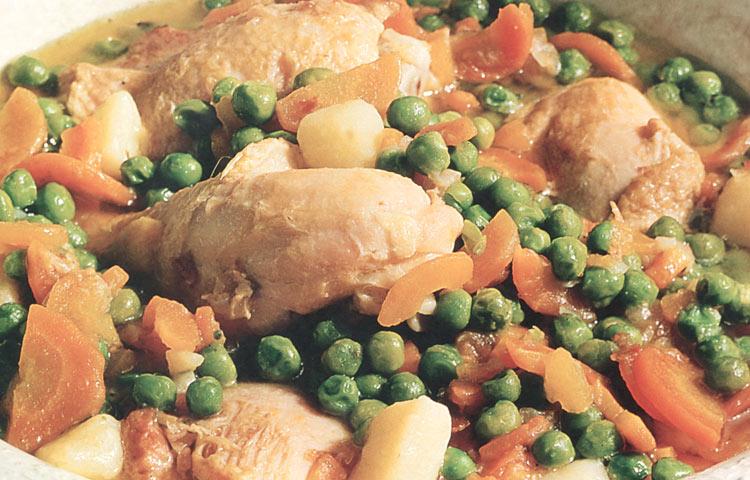 Receta de Cocina paso a paso: Pollo Arvejado