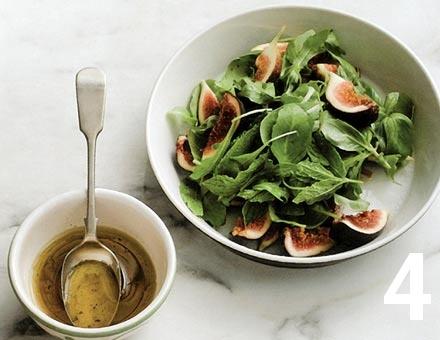 Preparacion de Receta de Cocina: Ensalada de Jamón y Salame con Higos - Paso 4