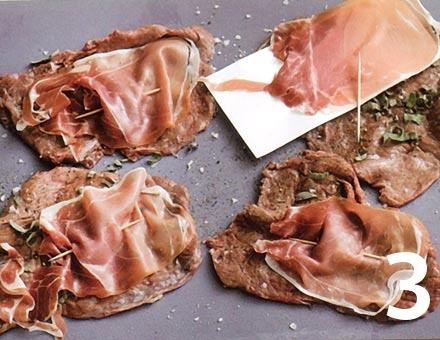 Preparacion de Receta de Cocina: Ternera con Jamón y Salvia - Paso 3