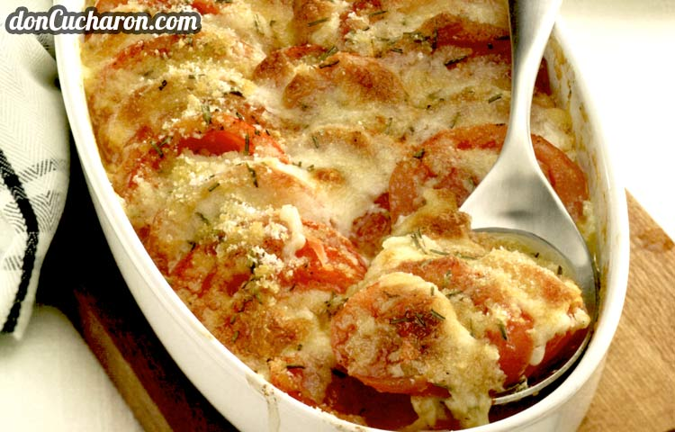 Receta de Cocina paso a paso: Gratinado de Tomates y Mozzarella