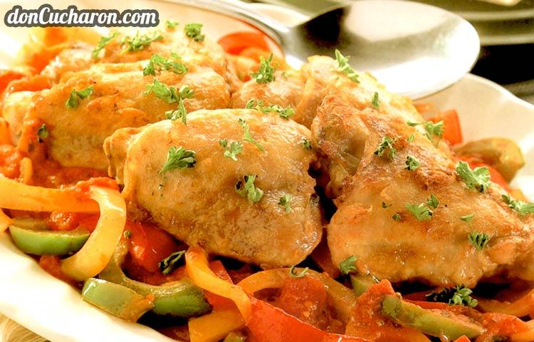 Receta de Cocina paso a paso: Pepperonata de Pollo