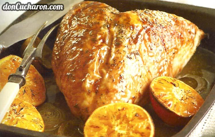 Receta de Cocina paso a paso: Pechuga de Pavo a la Naranja